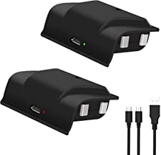 Xbox One Rechargeable Battery Pack, 2x1200mAH Xbox One Controller Battery Pack with 4FT 2 in 1 Micro USB Charging Cable an...