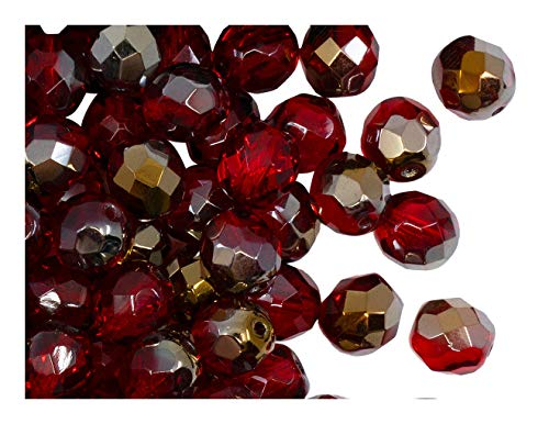 25pcs Czech Fire-Polished Glass Beads Faceted Round 8mm Ruby Valentinit