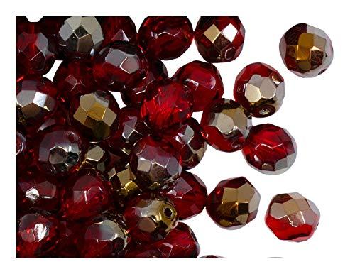 25 pcs Tchèque facettes perles de verre, Fire-Polished ronde 8 mm, Ruby Valentinit