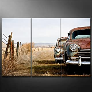 Canvas Print Wall Art Painting for Home Decor vintage Cars Abandoned and Rusting Away in Rural Wyoming 3 Pieces Panel Paintings Modern Giclee Stretched and Framed Artwork the Picture for Living Room Decoration car Pictures Photo Prints on Canvas