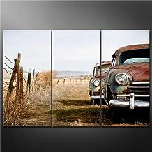 Impresión de Lienzo de Pared Arte Imagen Vintage coches abandonados y oxidación de distancia en Wyoming rural 3 piezas pinturas Giclée de moderna estirada y enmarcado arte el coche