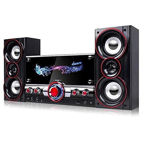 60W 2.1 Channel Wood bluetooth Speaker Subwoofer Multimedia Home Theater System TV Computer Subwoofer with Remote Control 2 Mic, Bluetooth version