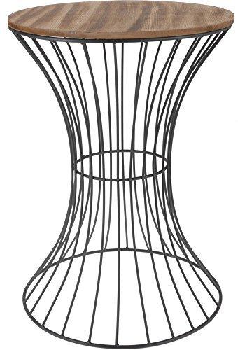 Spetebo Designer Beistelltisch aus Metall mit Holz Tischplatte - dekorativer Tisch mit geschwungenem Metallgestell