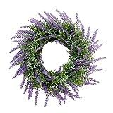 ラベンダーリース 造花 ドアリース アーティフィシャルフラワー 壁掛け ドア ラベンダー 庭園 部屋飾り 紫