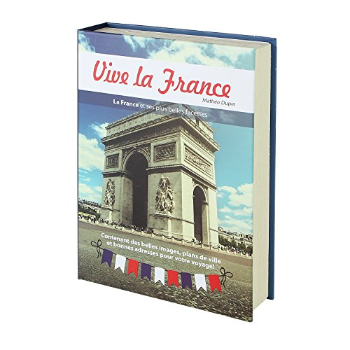 """HMF 80925 Libro cassaforte, per monete camuffata, pagine vere """"Vive la France"""", 23 x 15 x 4 cm, iscrizioni in francese"""