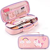 ANGOOBABY Cute Pencil Case Unicorn Pencil Pouch Medium Capacity Portable Multifunction Pen Bag with Compartments for Girls Kids Teen -Pink