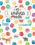 Mis aventuras y dibujos: Libro para escribir y hacer dibujos para niños pequeños hojas con líneas y cuadro para dibujos 21.6x28 cm portada brillo colores infantil
