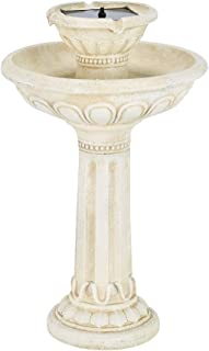 Smart Solar 34251RM1 Antique White Stone Kensington Gardens 2-Tier Solar-On-Demand Fountain with Patented Underwater Integral Solar Pump and Pump System, Requires No Wiring or Operating Costs