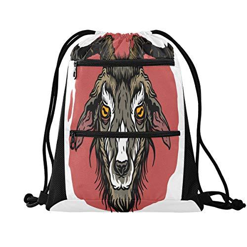 MCHIVER Rucksack mit Kordelzug, Sporttasche mit Ziegen-Tattoo, Tasche mit Kordelzug, Sportrucksack für Yoga, Schwimmen
