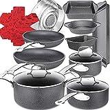 19-Piece Non-Stick Cookware Set, Marble Induction Pots and Pans Sets