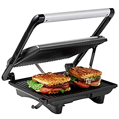 Aicok Panini Press Grill Gourmet Sandwich Maker, 11.6  x 10.4  Nonstick Plates, Cafe-Style Floating Lid, Removable Drip Tray, 1200W, Silver
