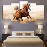 MAOYYM1 Quadri Modulari Quadro HD Stampato Moderna Tela 5 Pannello Marrone Cavalli Animale Home Decor Soggiorno Wall Art Painting (No Frame)