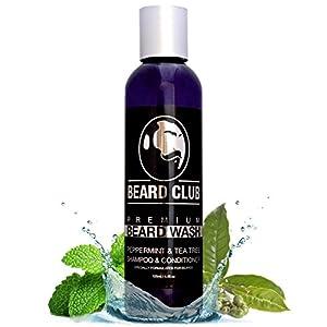 Premium Champú Para Barba y Acondicionador | Menta y árbol de té | Jabón Líquido 100% Natural y Orgánico Para Hombres | Suaviza la Barba, Detiene la Piel Seca, Ideal Para Pieles Sensibles