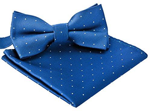 BomGuard BomGuard herren-fliege einstecktuch blau silbergepunktet