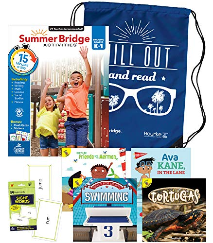 Summer Bridge Activities Bundle―Bridging Grades K to 1, Ages 5-6, Summer Learning Workbook, Sight Word Flash Cards, Nonfiction and Fiction Children's Books, Drawstring Bag
