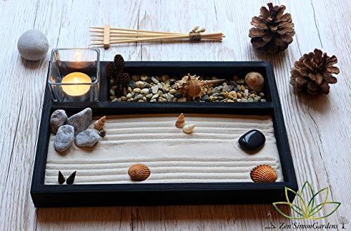 Jardin zen por la Decoracion de un Escritorio en estilo Feng shui.Lleva Velas Arena Conchas y Rastrillo ॐ Zensimongardens®: Amazon.es: Handmade