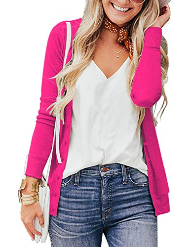a.Jesdani Womens Cardigan Sweaters Long Sleeve Button Down Soft Sweater Rose S