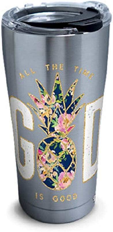 Tervis 1304244 Simply Southern God Is Good Pineapple 30 Oz Stainless Steel Tumbler With Lid 30oz Silver