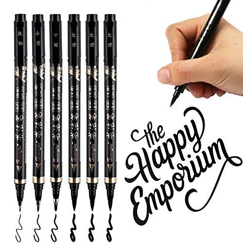Plumas de caligrafía, Pincel Rotulador Vakki 6PCS Rotuladores de mano recargables para escribir, rotular, firma (4 tamaños)