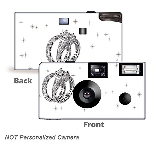 5 Pack - Shimmering Engagement on White Disposable Cameras, Wedding Camera, Anniversary Camera, party cameras, wedding favor from CustomCameraCollection WM-53690-C