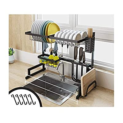 GAOJUNMEI Stainless Steel Kitchen Sink Rack, Drain Dish Rack Cutlery Storage Rack Suitable for Home and Kitchen Black 65cm from GAOJUNMEI