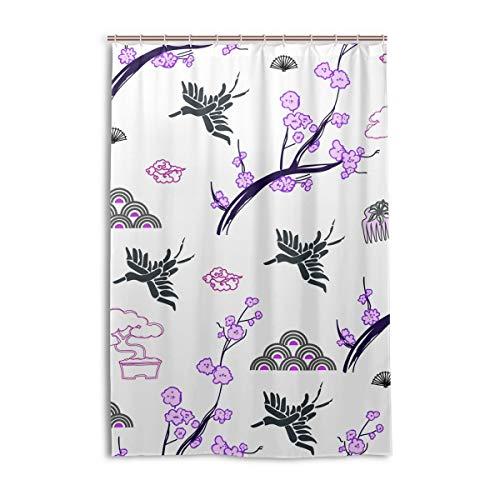 DEZIRO Cortina de baño de poliéster con diseño de flores y pájaros, impermeable, 122 x 183 cm