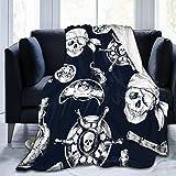 Leyhjai Fleece Blanket- Azul Marino Patrón Pirata Inicio Franela Fleece Soft Warm Felpa Throw Blanket para Cama/sofá/sofá/Oficina/Camping 60'x50