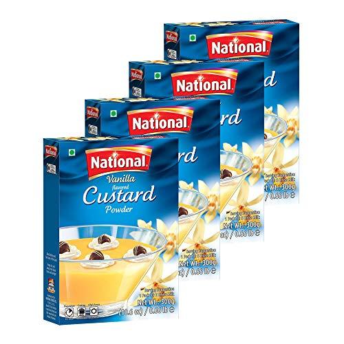 National Foods Custard Powder - Vanilla 10.58 oz (300g) | Easy to Cook | Sweet & Tasty Treat | Smooth & Creamy | Rich Dessert | Box Pack | Pack of 4