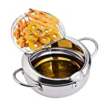 EAMATE Tempura Fry Pot, Stainless Steel Tempura Deep Fryer with Thermometer, 8 Inches, Mini Size...