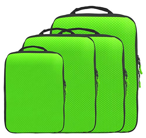 Magictodoor Dual Sided Compression Packing Cubes Separate Dirty Clothes Organizer(Green,4 Set)