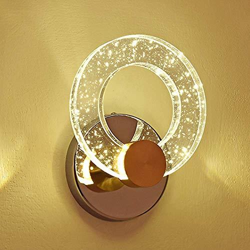 TTXP Lámpara de Pared, Columna de cabeza de burbuja de cristal creativa, anillo redondo, luz de pared, personalidad minimalista moderna, luz LED de pared, luz de fondo, luz de pare