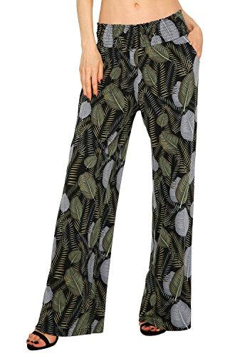 Urban GoCo Mujer Pantalón Palazzo de Pierna Ancha Casual Estampado Floral Baggy Pantalones (X-Large, 2)