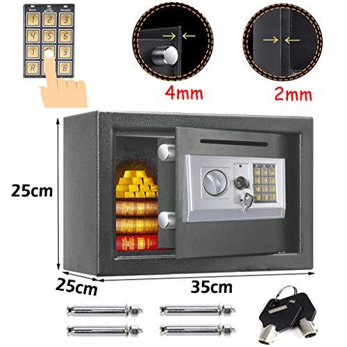 Tresor mit Zahlenschloss Groß - 35cm x 25cm x 25cm Elektronik Safe 4MM Doppel- Stahltür Möbeltresor Wandtresor Grau