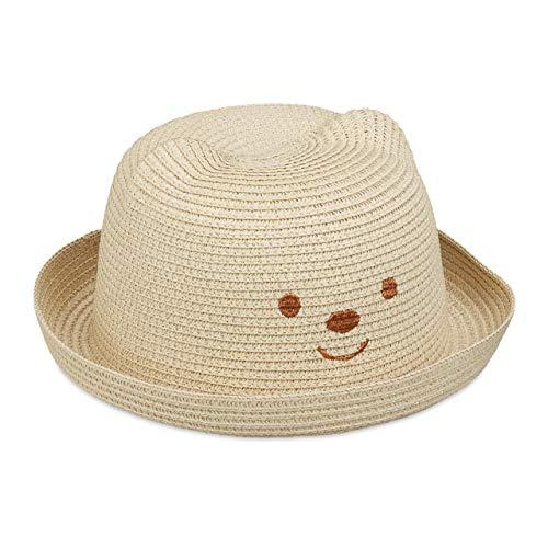 Relaxdays Kinder Strohhut, Gr. 52, mit Bär Gesicht, Kinderhut 2-4 Jahre, Mädchen & Jungen, runder Sommerhut, Natur