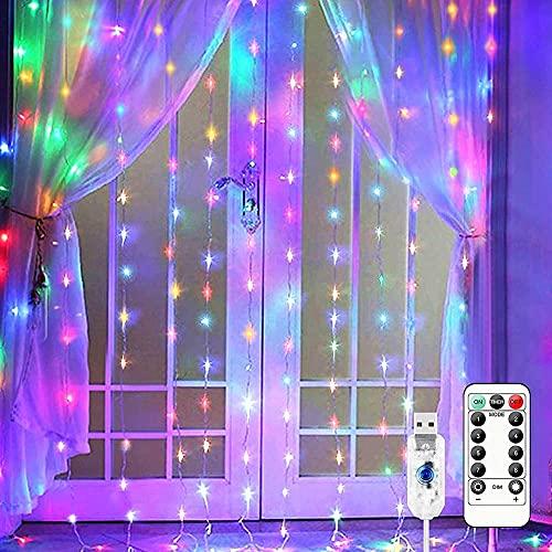 Nuevo Tipo 300 LED Cortina de Ventana Cadena de luz Fiesta de Bodas Navidad Hogar Jardín Dormitorio Cortina Blanca cálida Cadena de luz Decoraciones de Pared Interior al Aire Libre con Caja de baterí