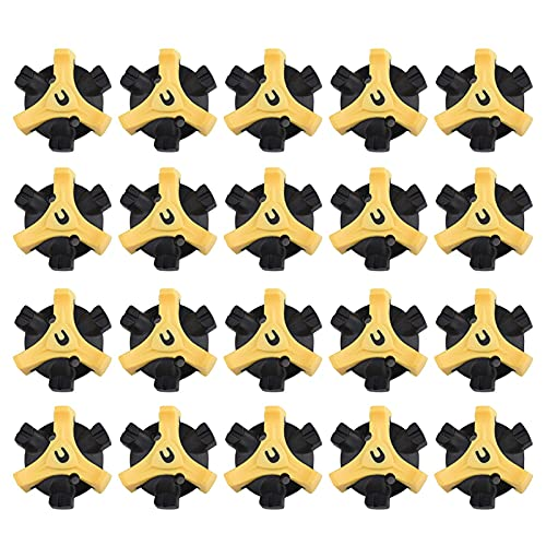 AUTUUCKEE 20 Stück Stollen Ersatz Universal Soft Golf Schuh Spike Sport Stinger Schraube (schwarz + gelb)