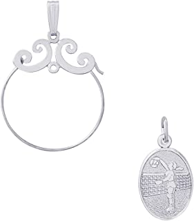 Rembrandt Charms Female Volleyball Charm on an Optional Charm Holder