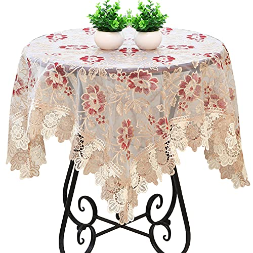 JHSLXD Creative Tablecloth, Kitchen Square Tablecloth Dining Table Tablecloth Hollow Out Flower Pattern Round Table Tablecloth Decoration Tablecloth,F Style,145145CM