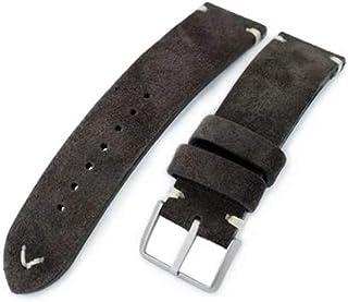 Cinturino in pelle 20mm, 21mm, 22mm MiLTAT marrone scuro in vera pelle nabuk W.20mm, 21mm, 22mm MiLTAT Dark Brown Genuine ...