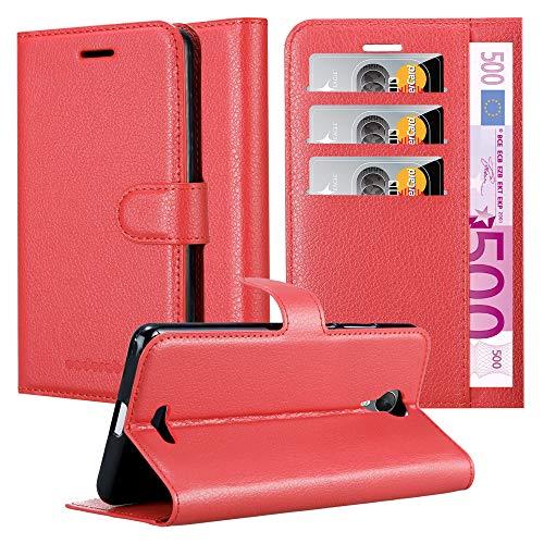 Cadorabo Hülle für WIKO Jerry 2 - Hülle in Karmin ROT – Handyhülle mit Kartenfach & Standfunktion - Case Cover Schutzhülle Etui Tasche Book Klapp Style