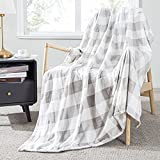 Topfinel Buffalo Check Plaid Throw Blanket Light Grey and White Decor 50 x 60 inch Flannel Couch Blanket