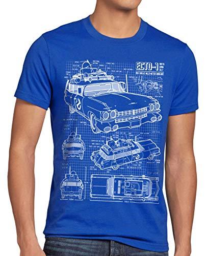 Plus Size Ecto-1 Blueprint T-shirt for Men, 4XL, 5XL