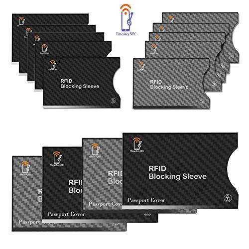 RFIDスキミング防止カードケース カードホルダ 薄型 クレジットカード パスポート 縦入れ式 14枚セット(10枚クレジットカード用ケース,4枚パスポート用ケース)-TimesKey