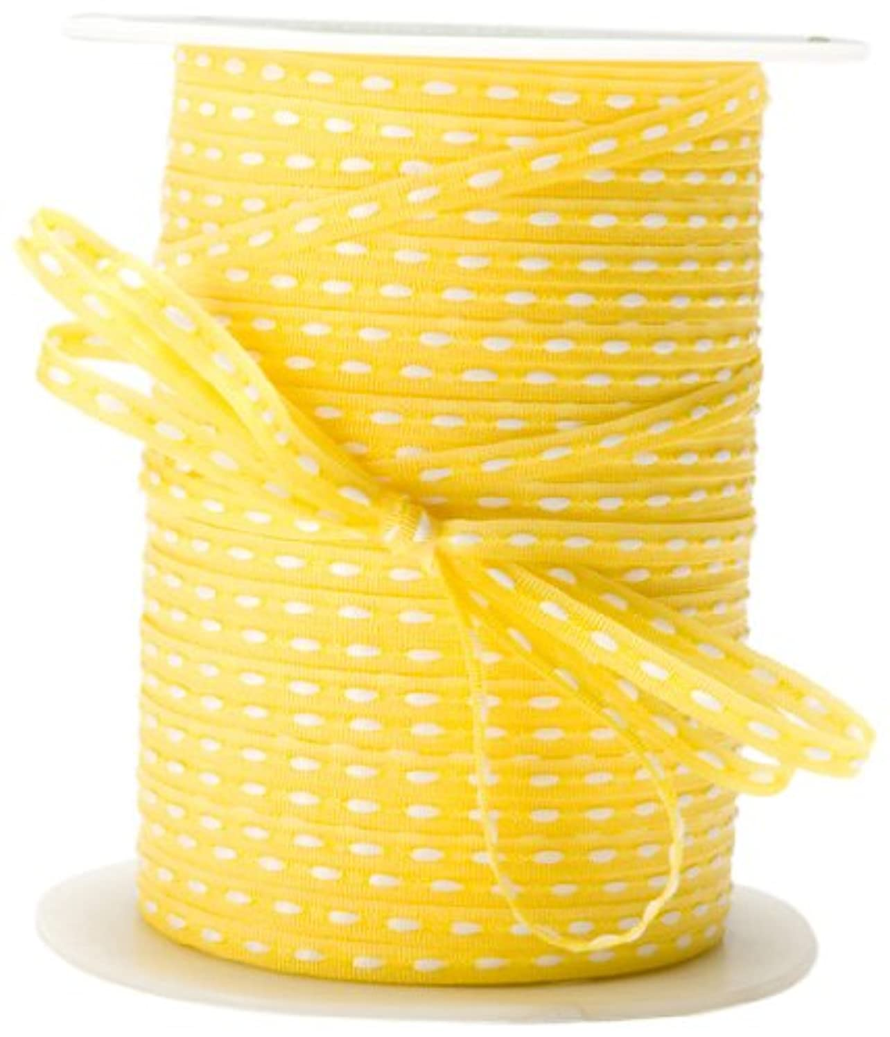 May Arts 1/8-Inch Wide Ribbon, Yellow with White Stitched Center