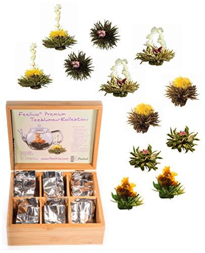 12 Stück Weißtee-Teeblumen Geschenkbox Kollektion (6 Sorten mit je 2 Stück Weißtee-Teerosen) in edler Bambus Holz-Box mit 6 Fächern - eine tolle Erblühtee - Geschenkidee von Feelino
