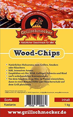Grillschmecker Wood Chips - Natürliches Holzaroma zum Grillen, Smoken & Räuchern - 1 kg Kastanienholz