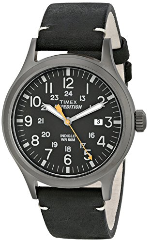 Timex Men's TW4B01900 Expedition Scout 40 Black Leather Strap Watch