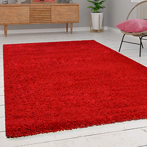 Paco Home Tapis Shaggy Longues Mèches en Rouge, Dimension:140x200 cm