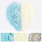 200 gramos de papel triturado con 40 gramos de estrella colorida de cinco puntas para cesta, caja de regalo (azul+blanco)