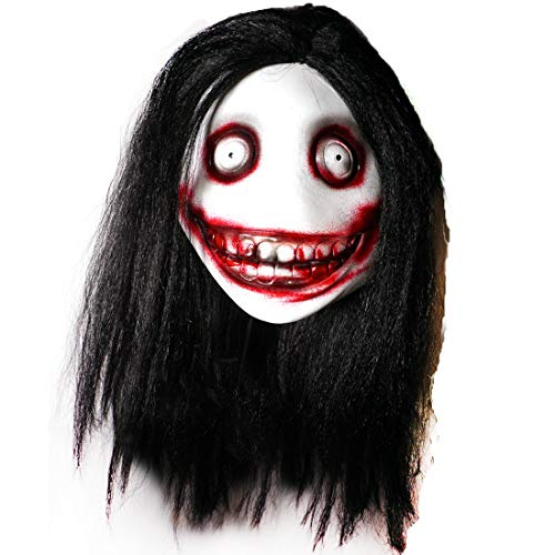 Jeff The Killer Latex Mask Halloween Cosplay Party Costume with Black Hair (jeff)
